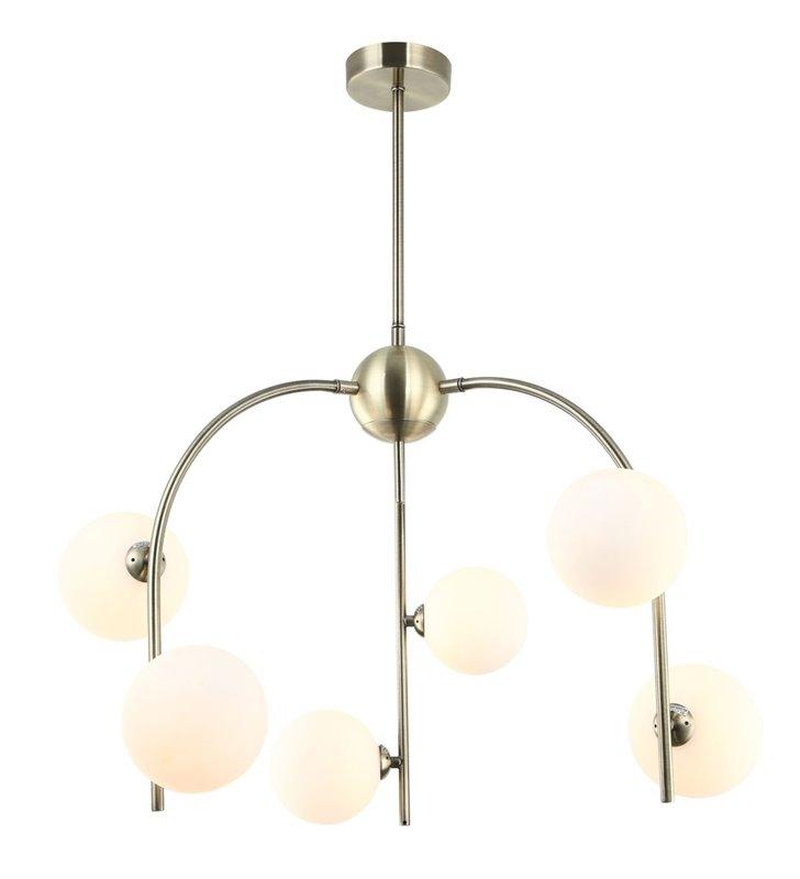 6 punktowy żyrandol Celine w nowoczesnym stylu bez łańcucha mosiądz antyczny szklane klosze do salonu sypialni jadalni kuchni