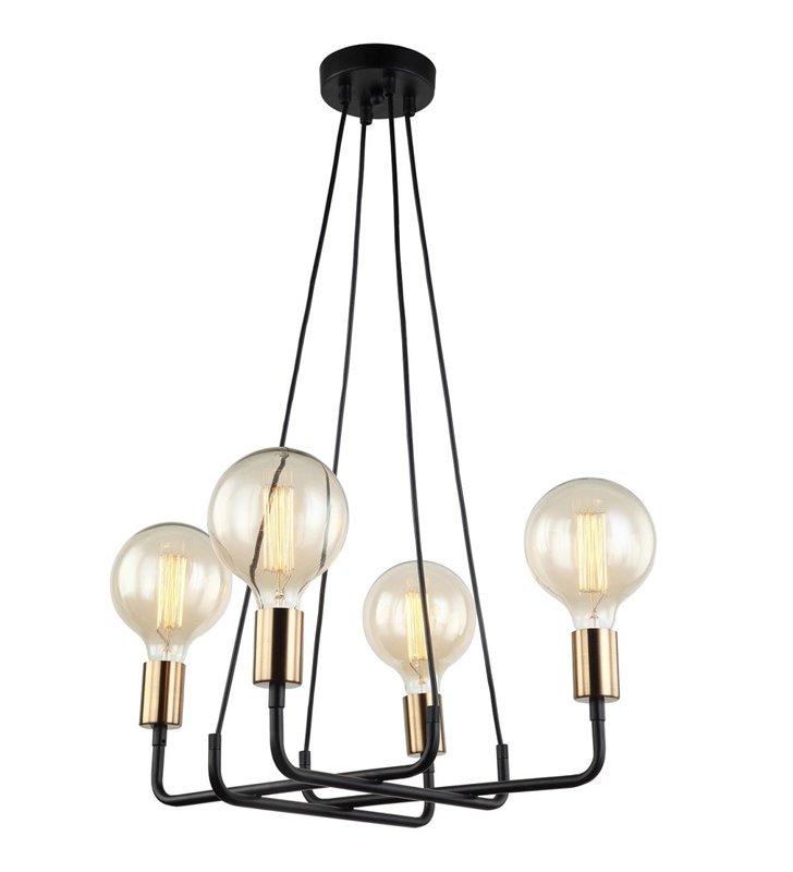 4 punktowy czarny nowoczesny żyrandol lampa wisząca Betty do ozdobnych żarówek bez kloszy