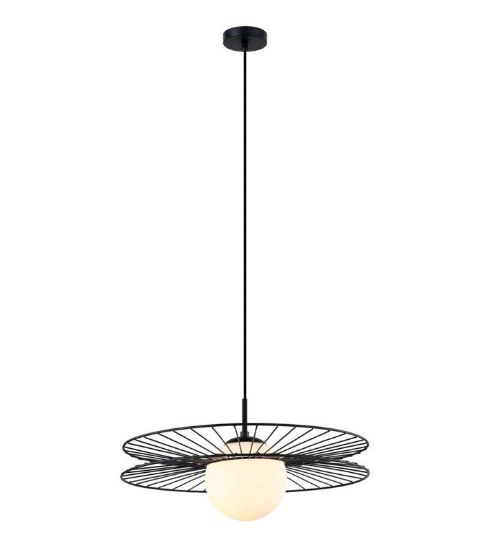 Okrągła nowoczesna lampa z konstrukcją metalową i szklanym okrągłym kloszem Sandy kolor czarny