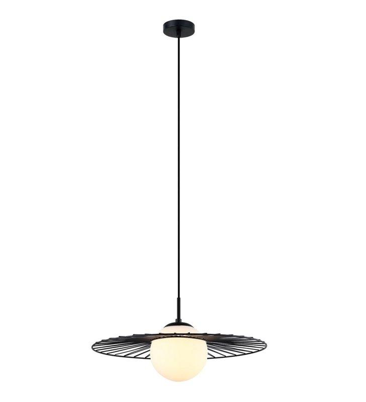 Sally czarna lampa wisząca z białym szklanym kloszem nowoczesny styl