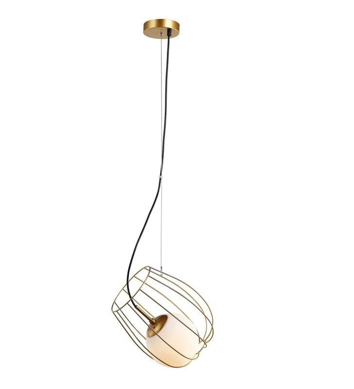 Lampa wisząca Melisa nowoczesna oryginalna złota podwójny klosz metalowy wewnątrz szklana kula