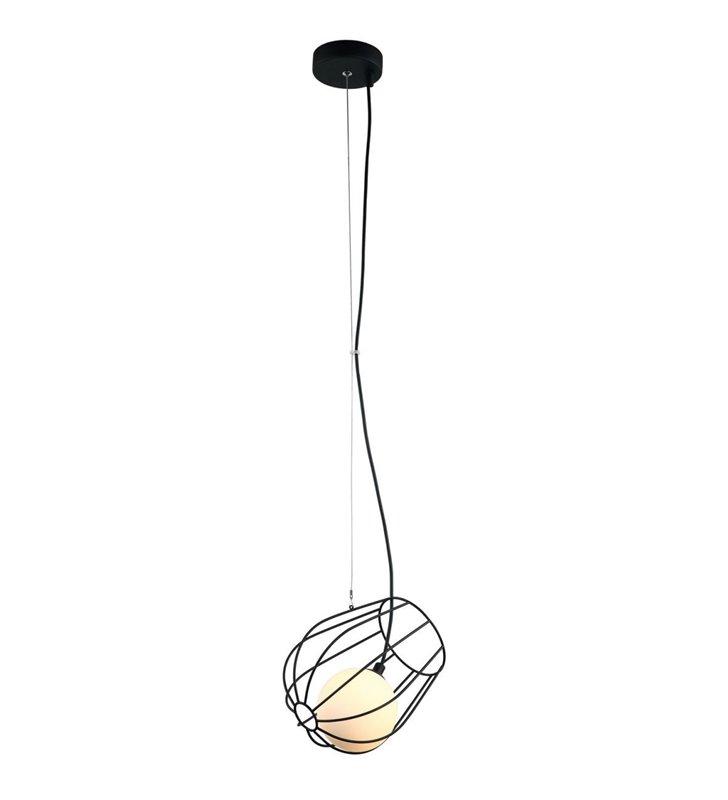 Metalowa lampa wisząca Melisa czarna druciana biały szklany klosz do salonu sypialni jadalni kuchni pojedyncza