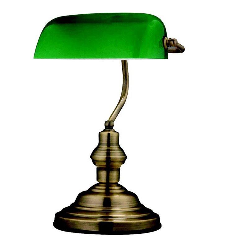 Lampka gabinetowa typu bankierka Antique podstawa stare złoto klosz szklany zielony
