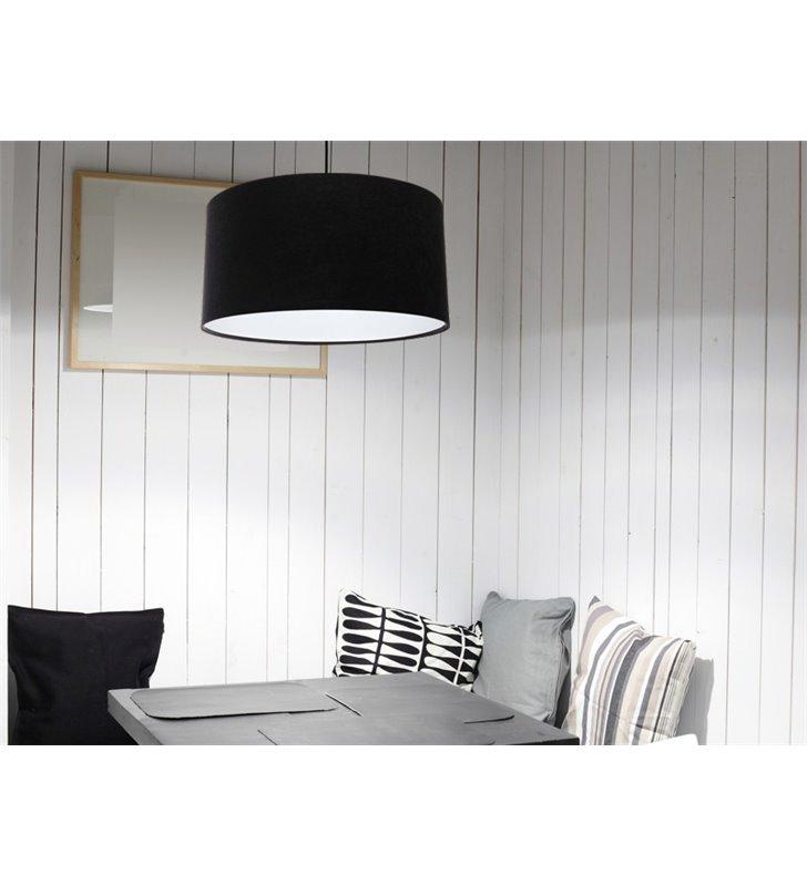 Gloria Biała czarna 50cm lampa wisząca z weluru do salonu jadalni sypialni