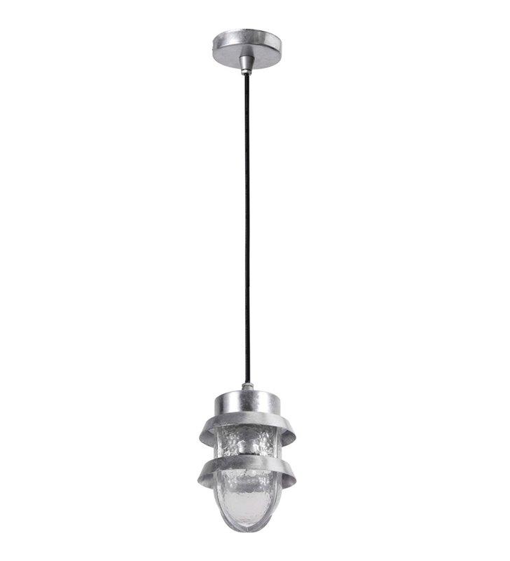 Lampa wisząca do ogrodu Tivoli kolor aluminium szklany klosz