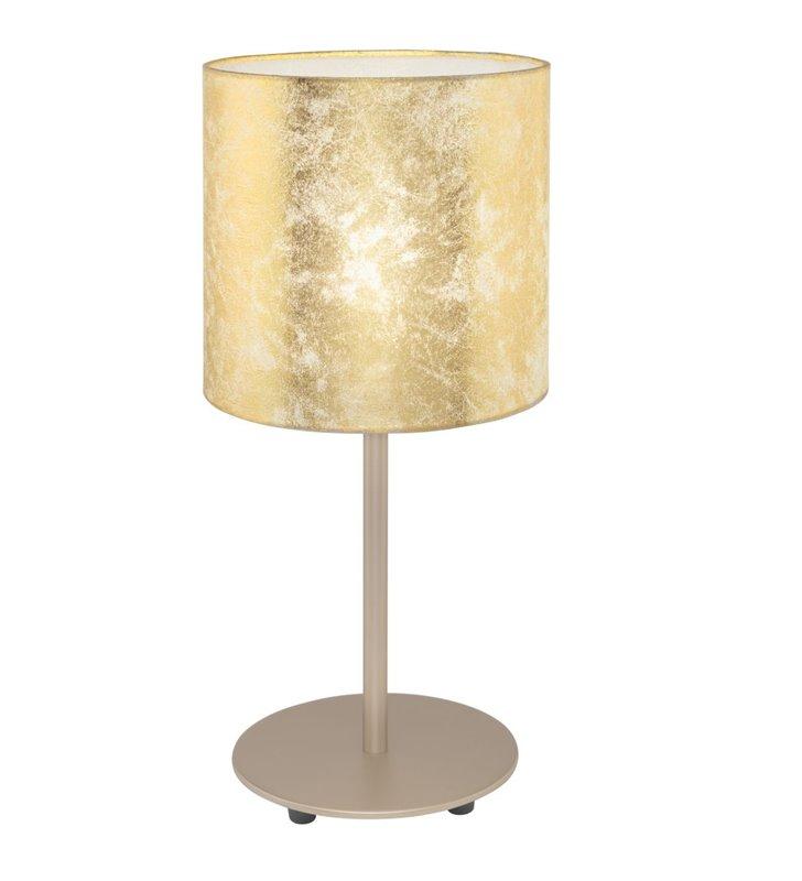 Lampa stołowa Viserbella ze złotym abażurem podstawa w kolorze szampana