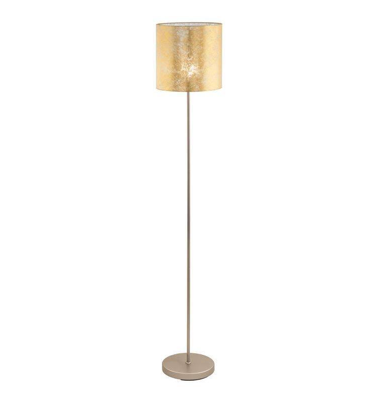 Złota lampa podłogowa Viserbella abażur podstawa w kolorze szampana