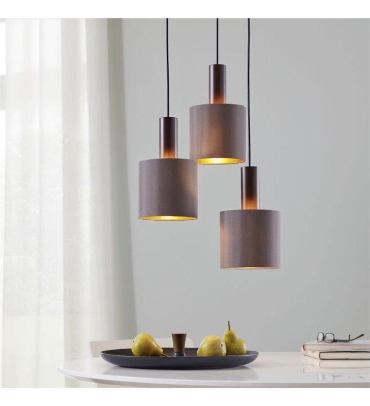 Lampa Concessa1 potrójna spirala abażury tekstylne w kolorze cappuccino złote wnętrza metal ciemny brąz np. nad stół schody
