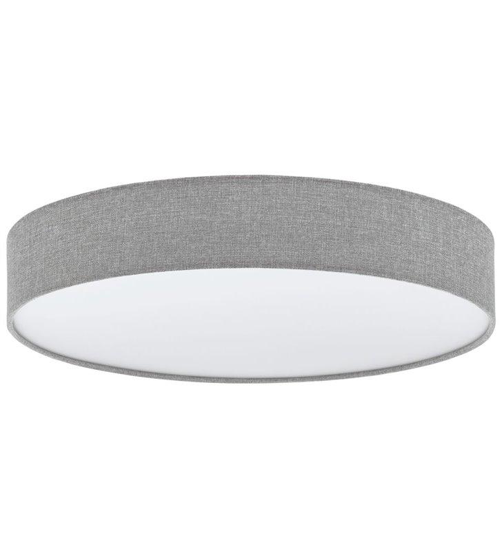 Plafon Romao 760 LED duży szary tkanina len pilot ściemniacz do salonu sypialni