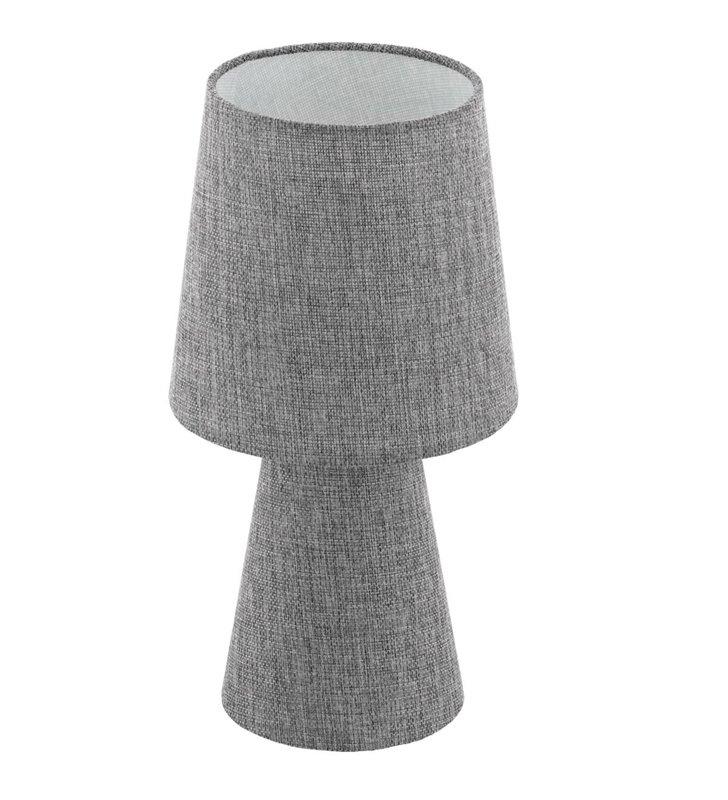 Lampa stołowa Carpara szara lniana podświetlana podstawa i abażur