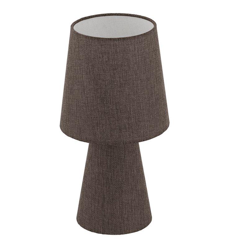 Tekstylna lampa stołowa z brązowego lnu Carpara podświetlana podstawa i abażur