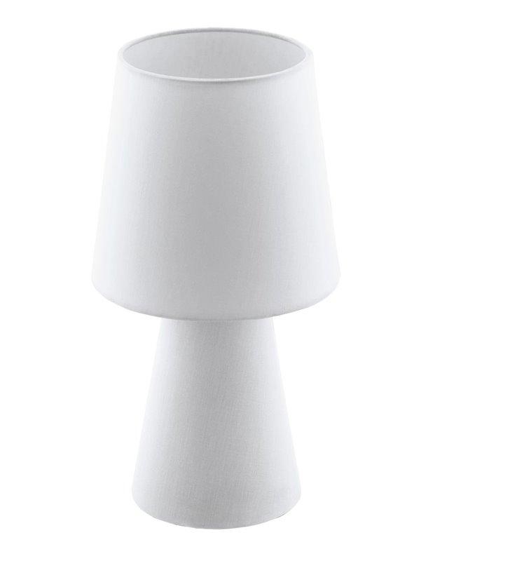 Materiałowa biała lampa stołowa Carpara podświetlana podstawa i abażur