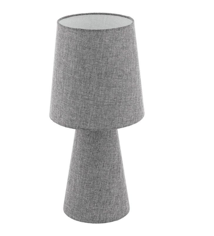 Szara lniana lampa stołowa Carpara materiałowa podświetlana podstawa i abażur