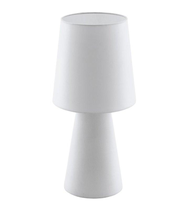 Biała lampa stołowa z materiału z podświetlaną podstawą i abażurem wysokość 47cm Carpara