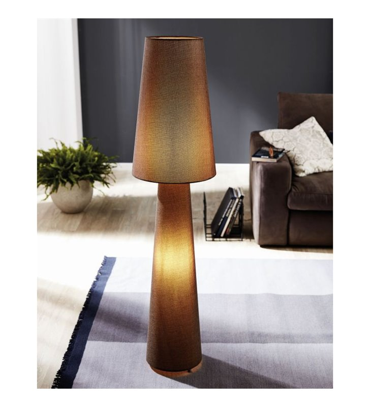 Brązowa lampa podłogowa z lnu Carpara abażur i podstawa podświetlana wysoka 173cm