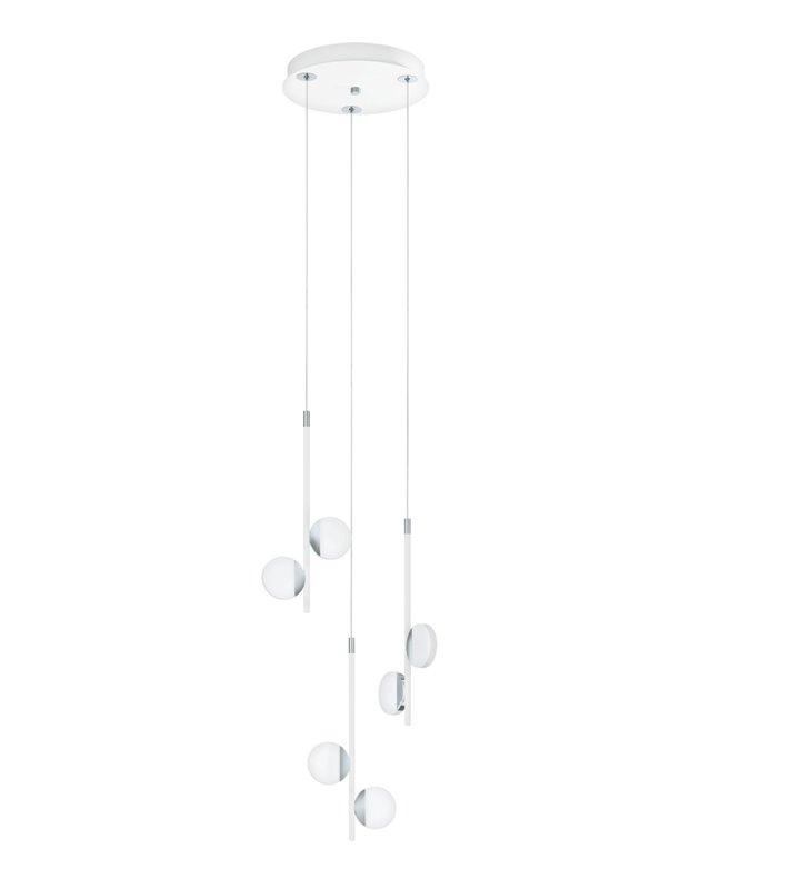 Lampa wisząca Olindra LED biała kaskada z 6 płaskimi okrągłymi kloszami ciepłe białe światło