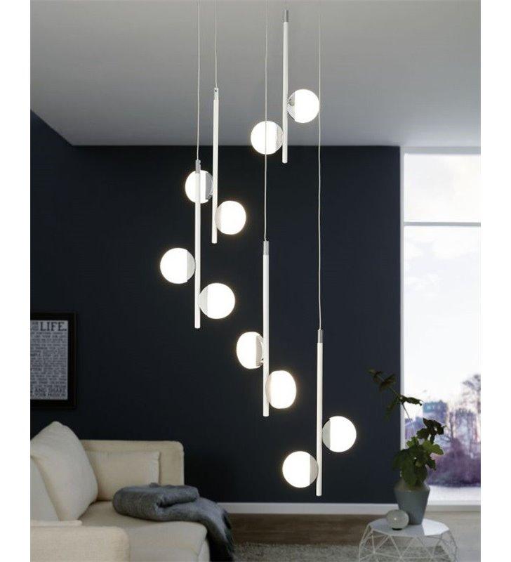 Wielopunktowa nowoczesna biała lampa wisząca Olindra LED kaskada np. nad stół, schody do salonu sypialni jadalni na korytarz