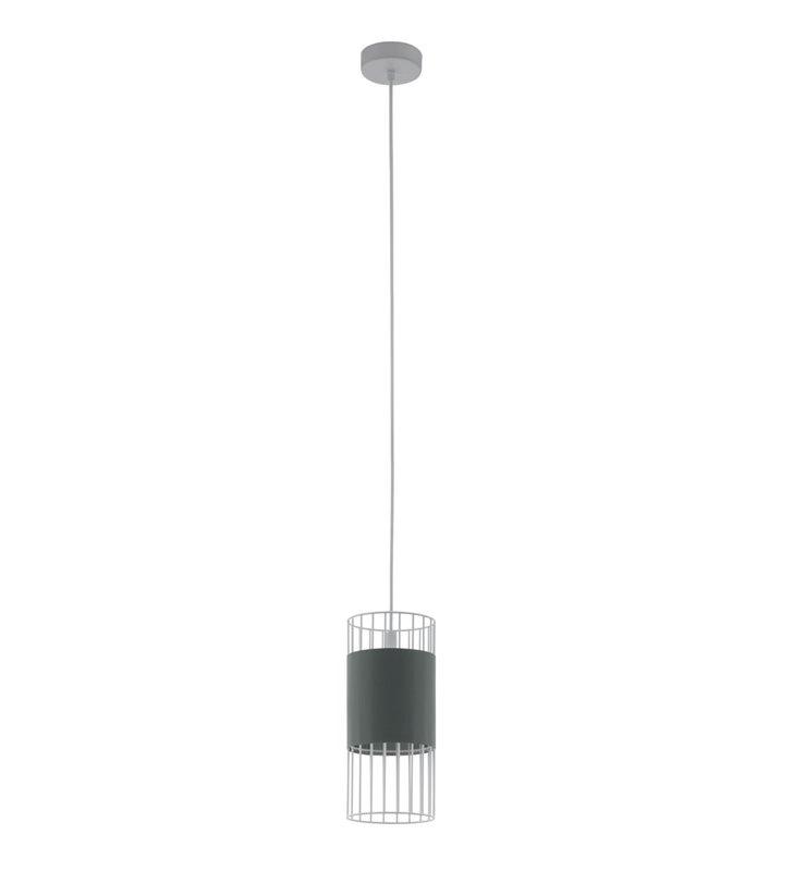 Pojedyncza druciana biała lampa wisząca Norumbega z szarą tekstylną opaską do salonu jadalni sypialni