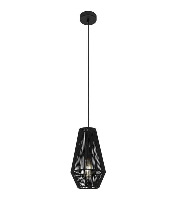 Lampa wisząca Palmones czarna o średnicy 20cm klosz druciany opleciony czarnym sznurkiem