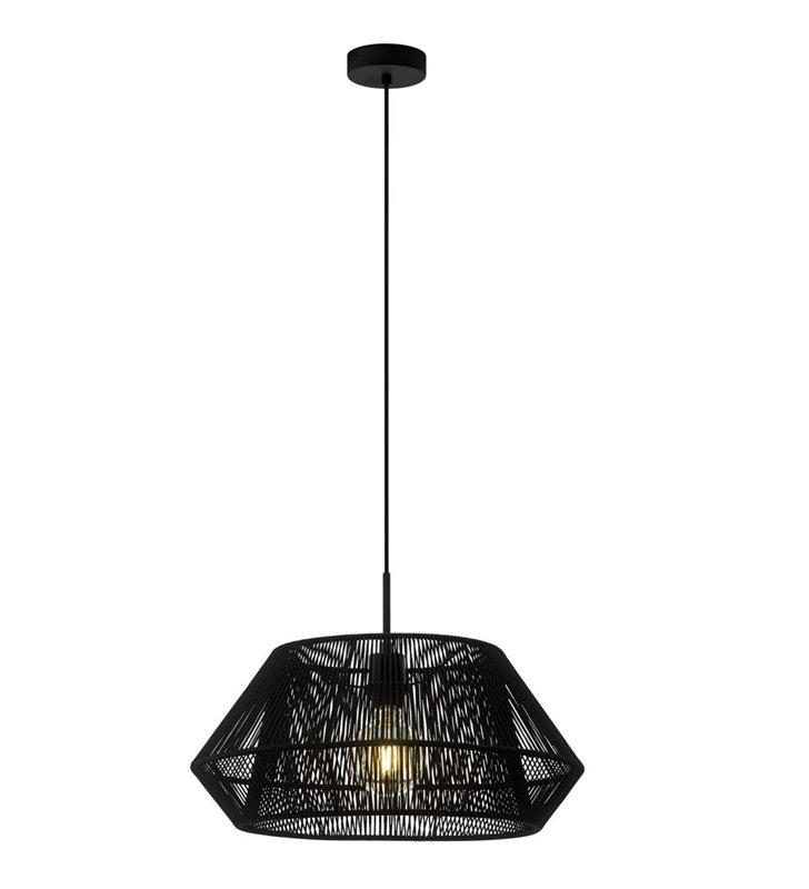 Lampa wisząca Palmones nowoczesna czarna abażur pleciony sznurkiem do salonu sypialni jadalni