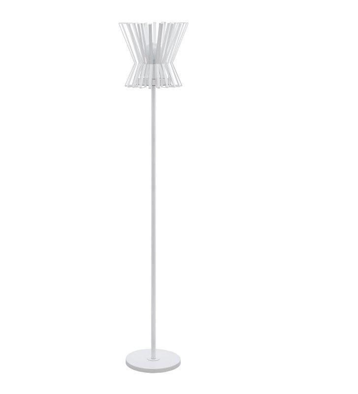 Dekoracyjna biała lampa podłogowa Locubin z metalu włącznik podłogowy