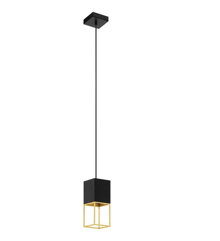 Pojedyncza czarno złota kwadratowa lampa wisząca Montebaldo nowoczesna