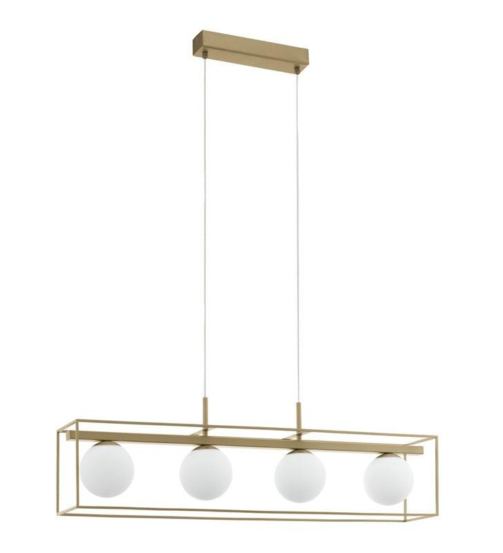 Lampa wisząca Vallaspra podłużna 4 klosze kule metal w kolorze szampana np. do kuchni nad wyspę do jadalni nad stół