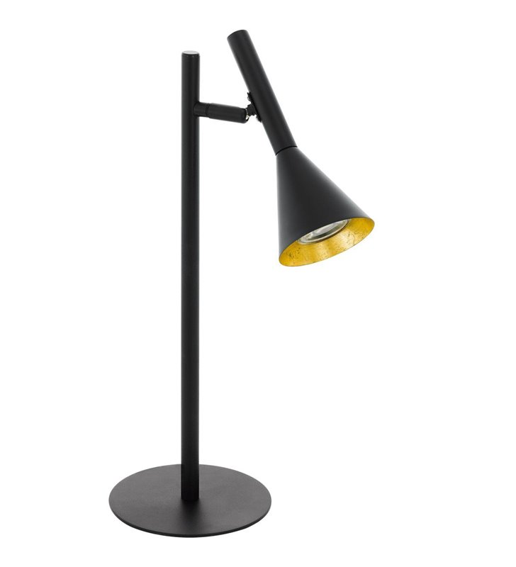 Nowoczesna czarna lampa stołowa Cortaderas klosz wewnątrz złoty żarówka LED włącznik na kablu