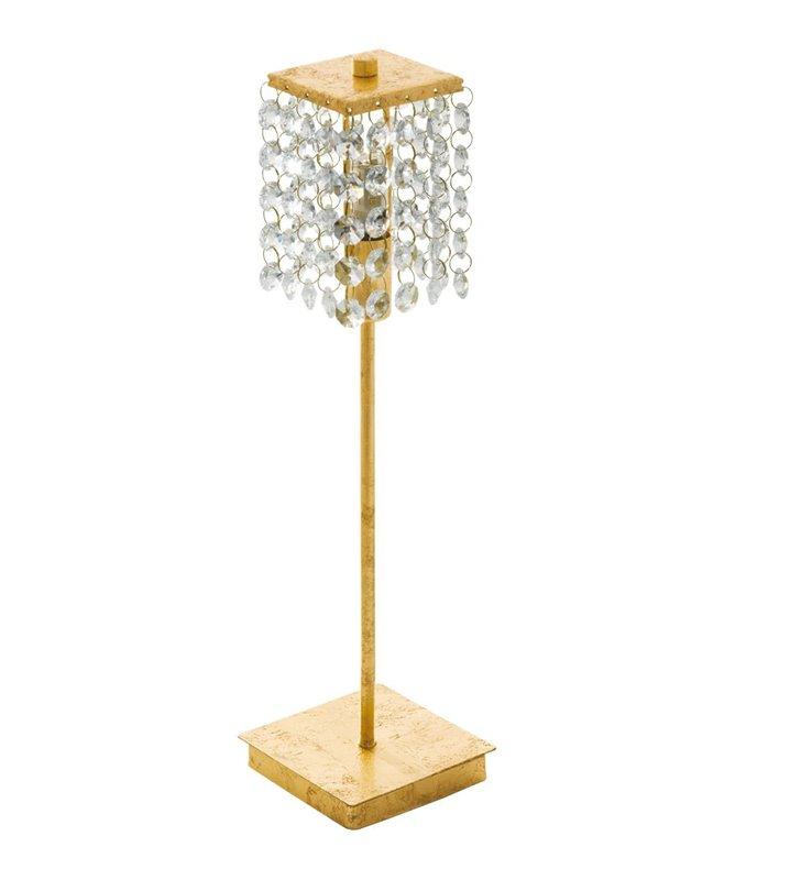 Lampa stołowa Pyton Gold złota z kryształowymi łańcuszkami w roli klosza