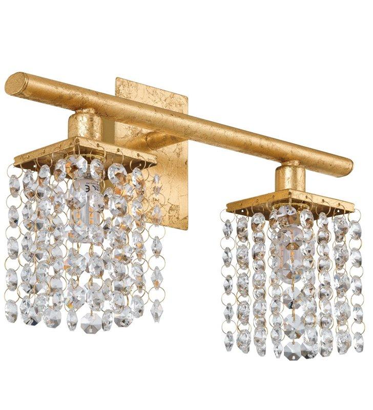 Podwójny złoty kryształowy kinkiet Pyton Gold z włącznikiem na lampie