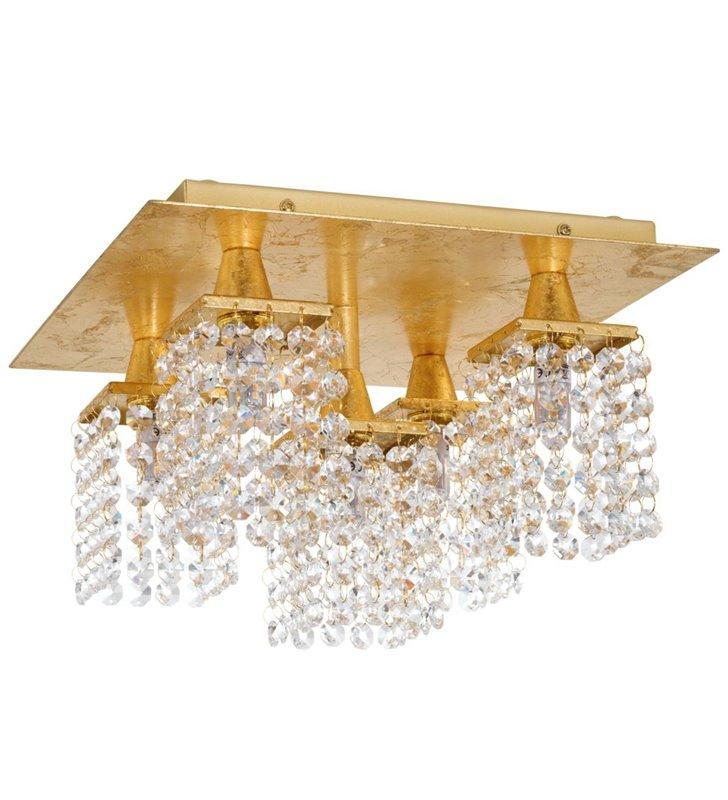 5 punktowa lampa sufitowa Pyton Gold kwadratowa klosze z wiszących bezbarwnych kryształów metal kolor złoty