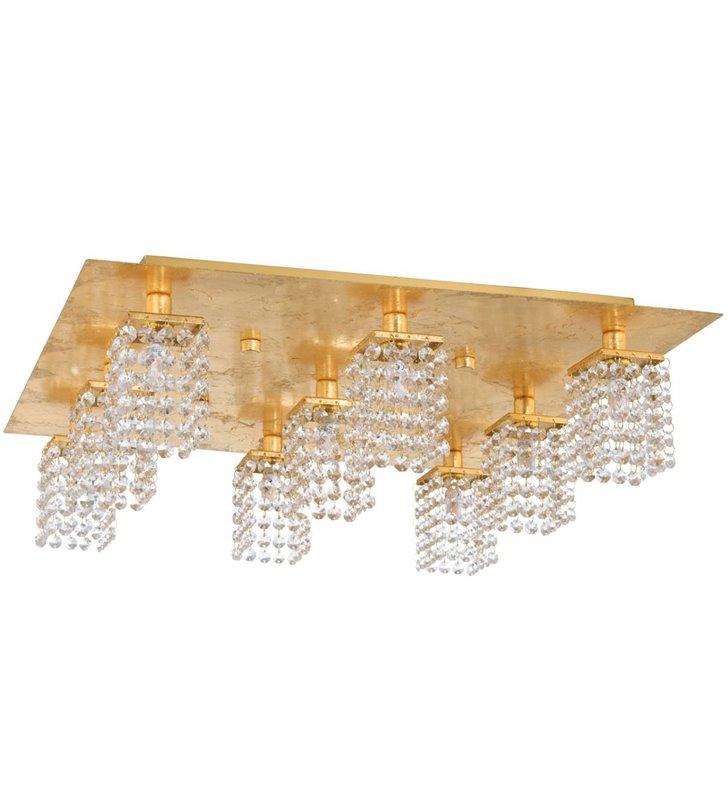 9 punktowa złota lampa na sufit Pyton Gold klosze wiszące bezbarwne kryształy do salonu sypialni jadalni do niskich pomieszczeń