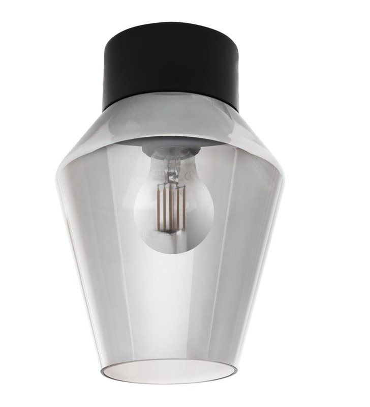 Mała nowoczesna lampa sufitowa Verelli klosz czarny transparentny ze szkła