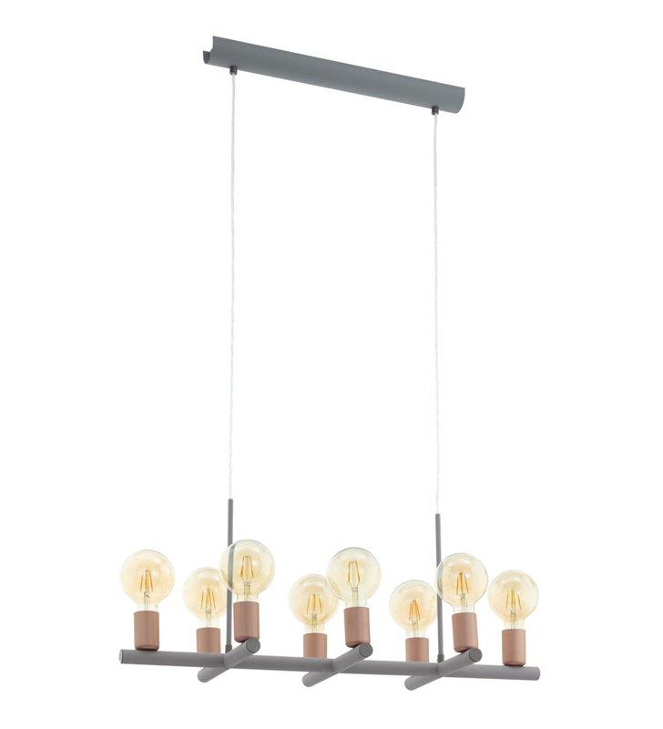 Nowoczesna minimalistyczna 8 punktowa szara lampa wisząca Adri1 detale w kolorze różowego złota do salonów kuchni jadalni