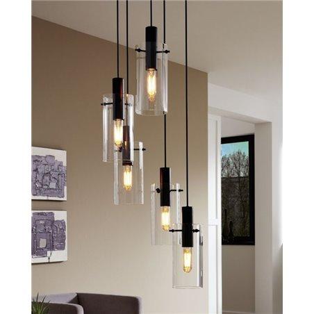 Lampa wisząca Montefino 1 żarówka czarna bezbarwny klosz ze szkła