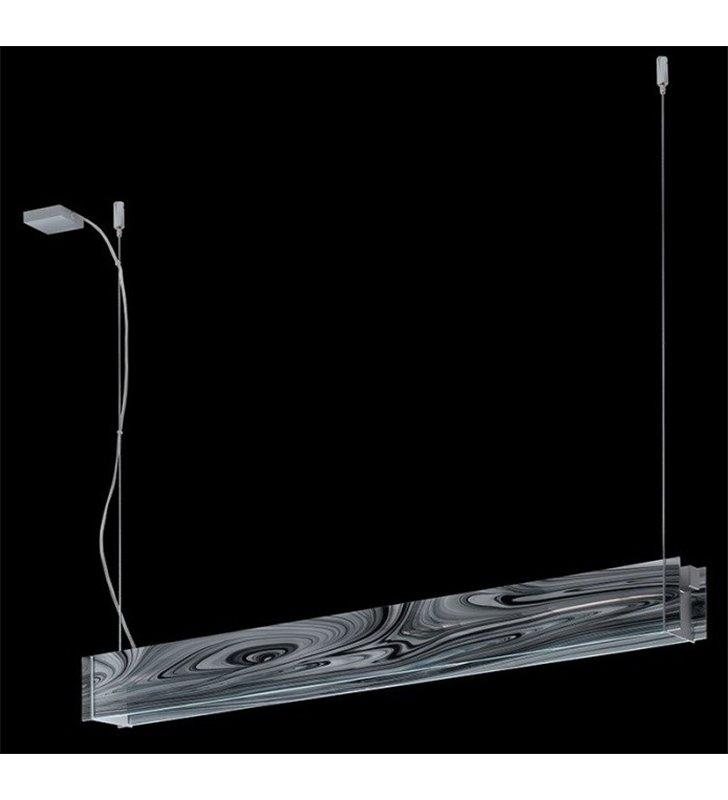 Lampa wisząca Traverso Barok G9 podłużna czarne tafle szkła do salonu kuchni jadalni nad stół