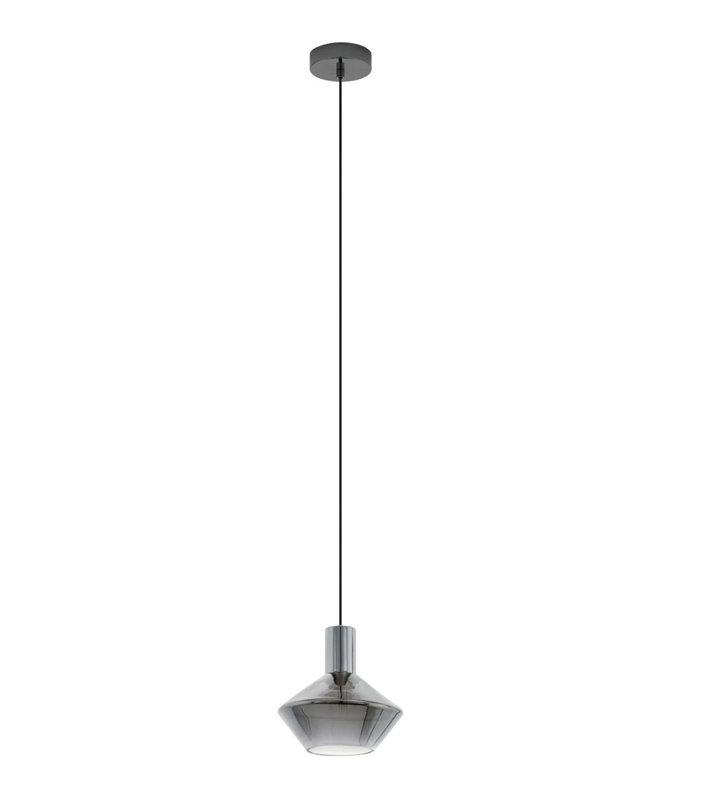 Nowoczesna szklana lampa wisząca Ponzano czarna do salonu jadalni kuchni sypialni