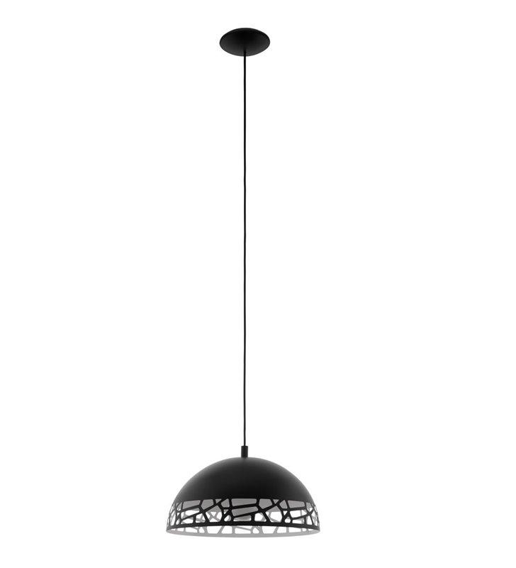 Lampa wisząca Savignano czarna 38cm kopuła z dekoracyjnym kloszem