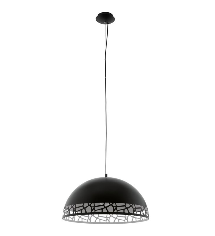 Savignano czarna 53cm lampa wisząca z metalowym czarnym dekoracyjnym kloszem kopuła