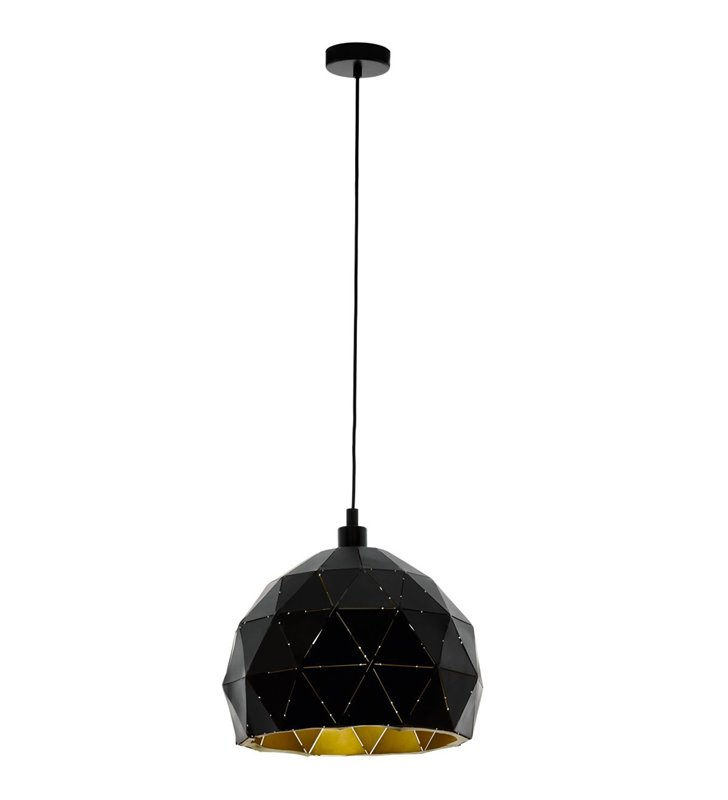 Lampa wisząca Roccaforte czarna geometryczna klosz wewnątrz złoty