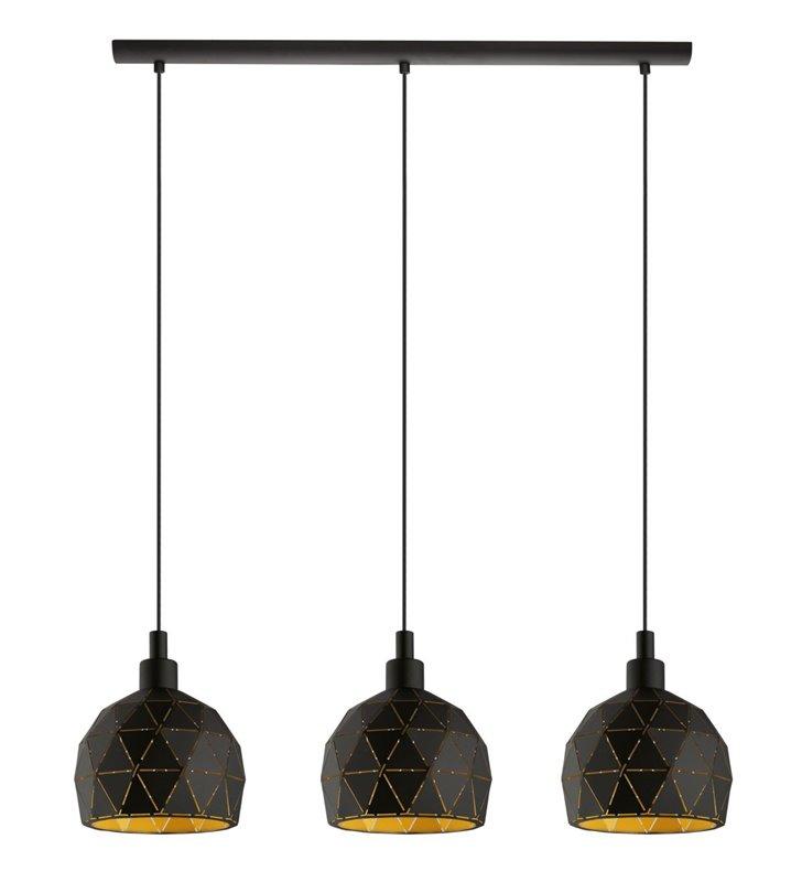 Lampa wisząca Roccaforte czarna złoty środek kloszy potrójna klosze metalowe geometryczne