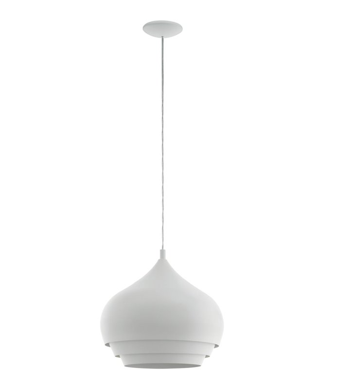 Średnia metalowa biała lampa wisząca Camborne np. nad stół do jadalni kuchni