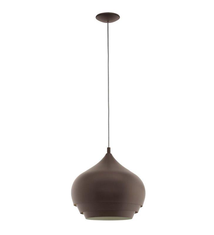 Nowoczesna metalowa lampa wisząca Camborne ciemny brąz kremowy środek średnica 38cm do jadalni kuchni sypialni salonu