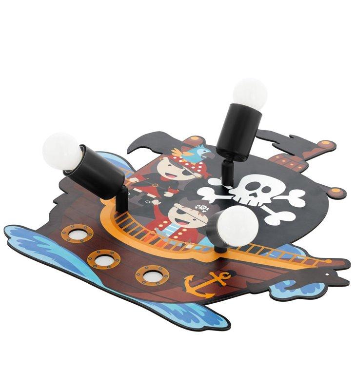 Lampa sufitowa do pokoju dziecięcego z motywem pirackim piraci 3 żarówki San Carlo