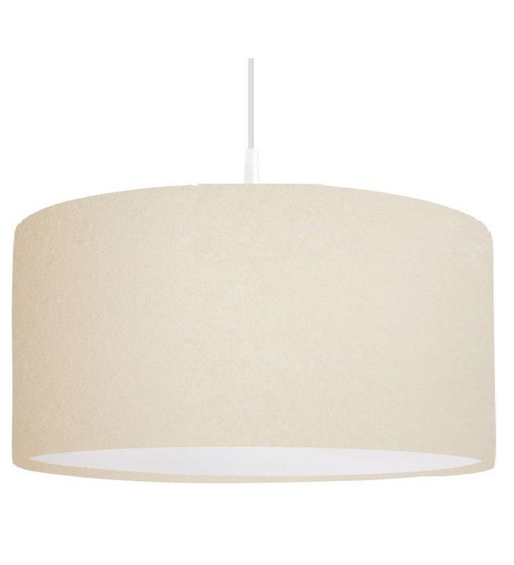 Welurowa lampa wisząca Verbena Biała kremowa wewnątrz biała 50cm średnica