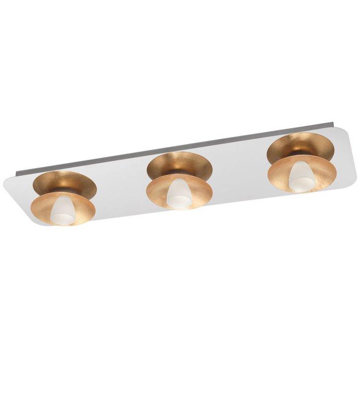 Podłużny prostokątny plafon z 3 kloszami Torano połączenie chromu ze złotem styl nowoczesny LED
