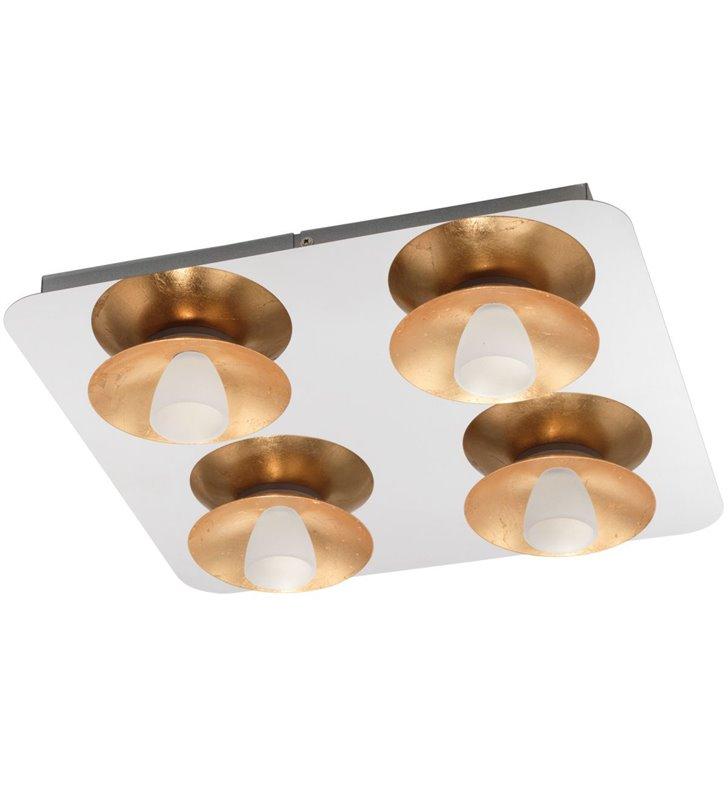 4 punktowy nowoczesny kwadratowy plafon Torano LED chrom detale złote możliwość ściemniania