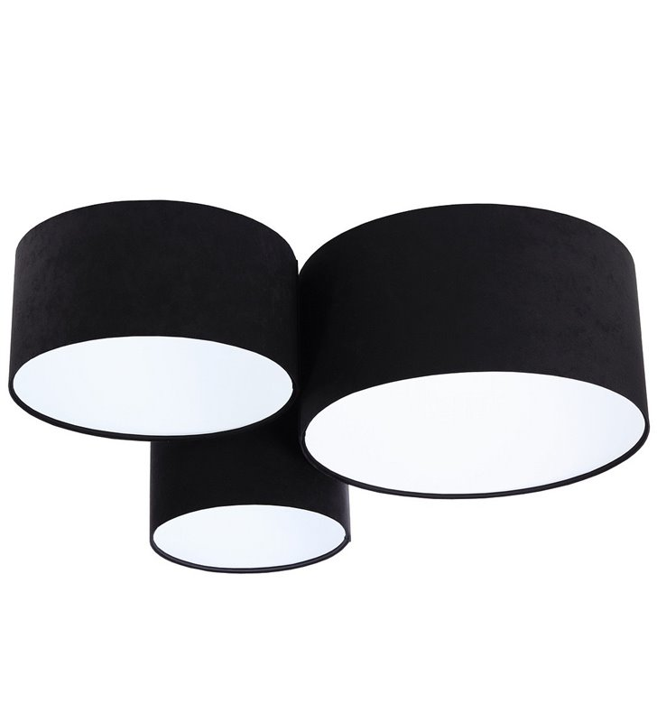 Duży nowoczesny plafon Gloria Biała z 3 czarnymi abażurami
