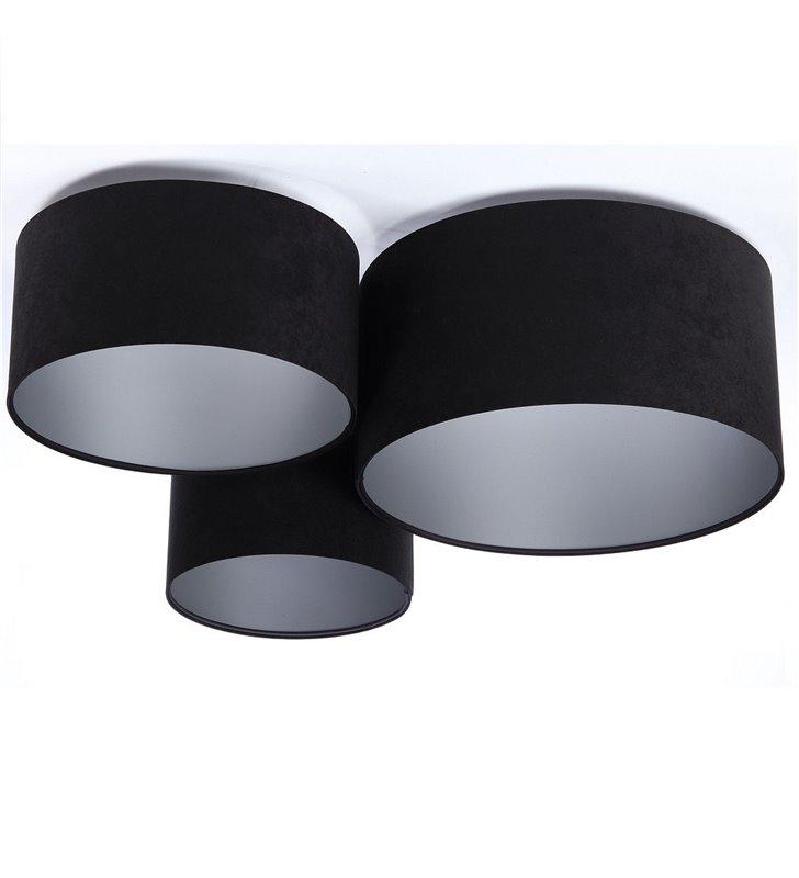 Plafon Gloria Srebrna układ 3 czarnych plafonów ze srebrnymi środkami abażur z tkaniny welurowej
