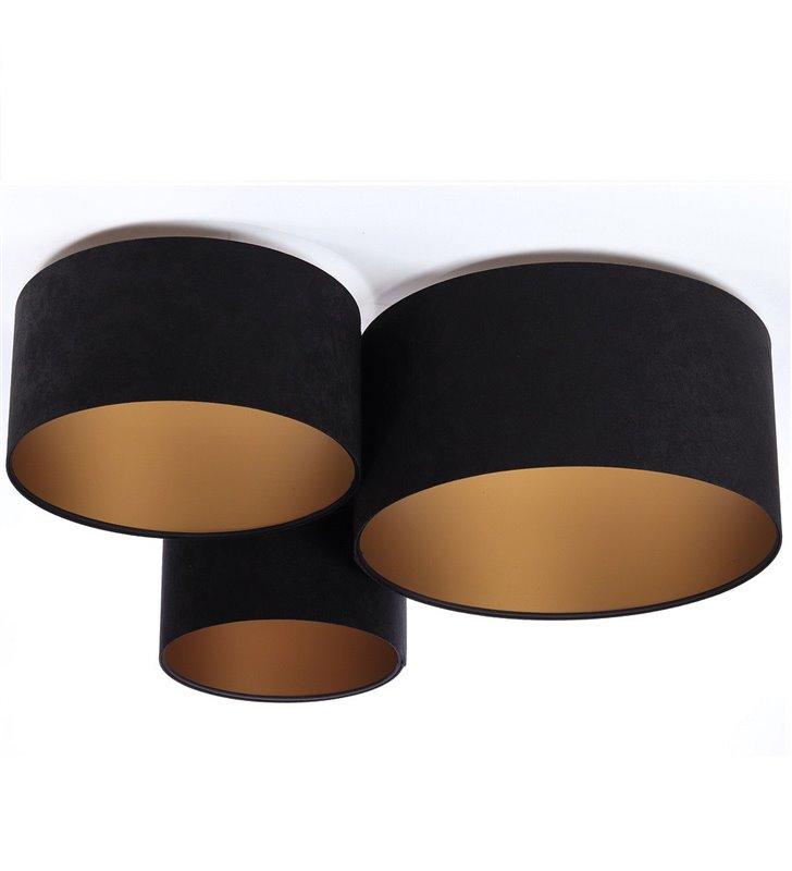 Plafon Gloria Złota duży układ 3 plafonów różnej średnicy czarny ze złotym środkiem tkanina welur do salonu sypialni na korytarz